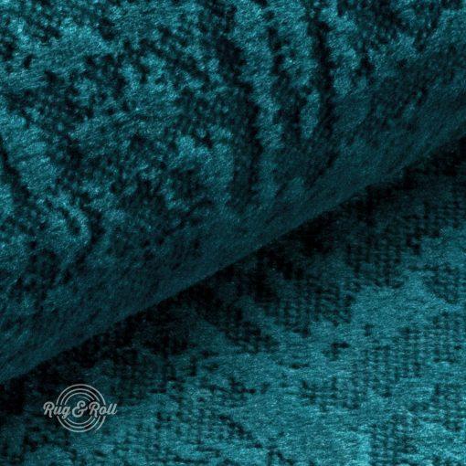 Velvetto 7 - türkiz, fényes nyomott mintás, magas kopásállóságú bársony bútorszövet