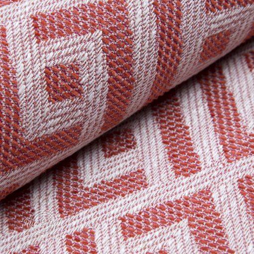 MISTERO 4 - piros mintás, természetes anyagú, égéskésleltetett bútorszövet lentartalommal