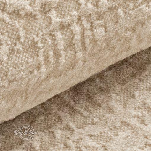 Velvetto 2 - világos bézs, fényes nyomott mintás, magas kopásállóságú bársony bútorszövet