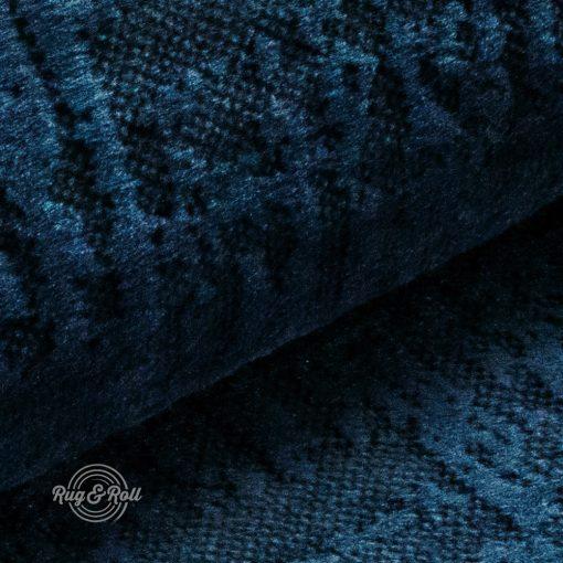 Velvetto 9 - sötétkék, fényes nyomott mintás, magas kopásállóságú bársony bútorszövet