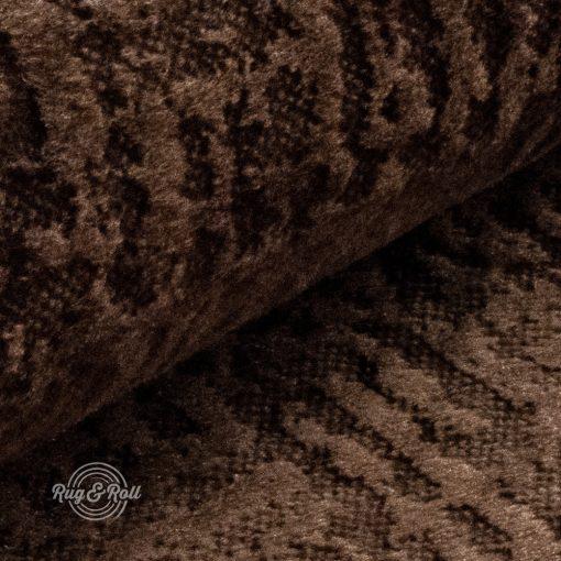 Velvetto 11 - barna, fényes nyomott mintás, magas kopásállóságú bársony bútorszövet
