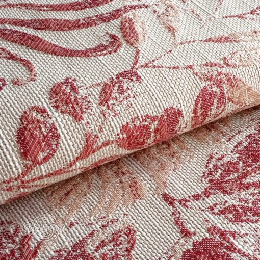 FLORA 7 - piros, környezetbarát síkszövet, virág motívumokkkal, égéskésleltetett tulajdonsággal, liláskék