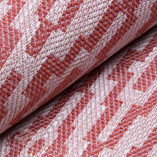 AZTECO 4 - piros, azték mozaik mintás, síkszövet, 10% lentartalommal