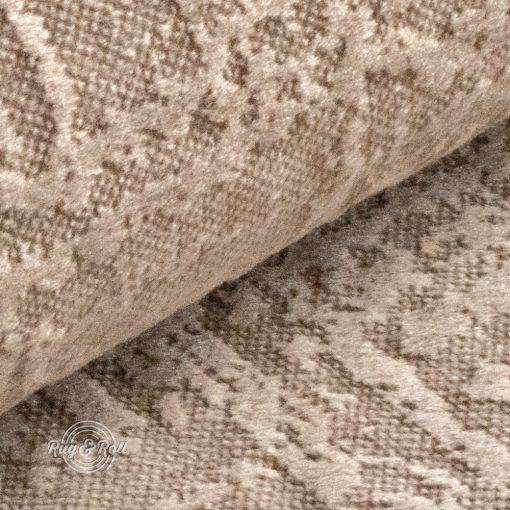 Velvetto 3 - bézs, fényes nyomott mintás, magas kopásállóságú bársony bútorszövet