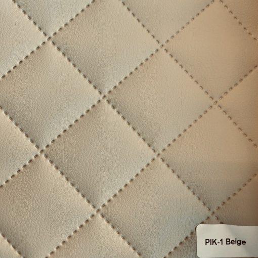 PIK 01 - kiskockás, steppelt textilbőr bútorszövet, bézs