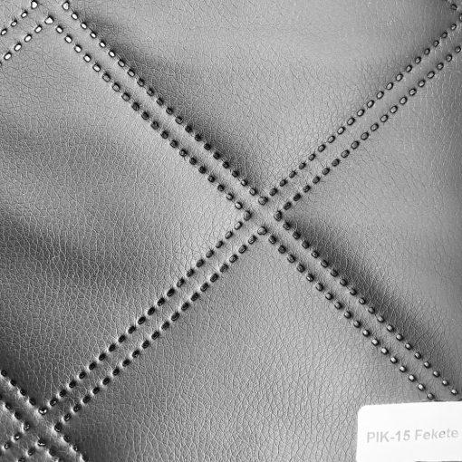 PIK 15 - nagykockás, steppelt, textilbőr bútorszövet, fekete