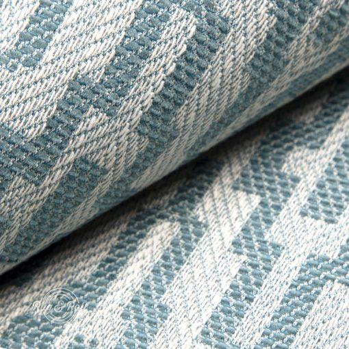 AZTECO 5 - türkiz, azték mozaik mintás, síkszövet, 10% lentartalommal